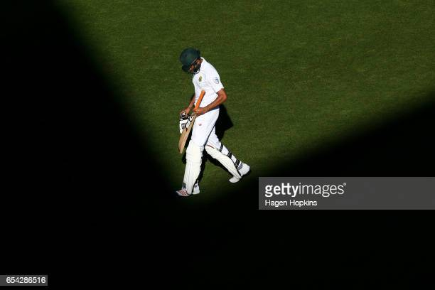 Keshav Maharaj of South Africa leaves the field after being dismissed during day two of the test match between New Zealand and South Africa at Basin...