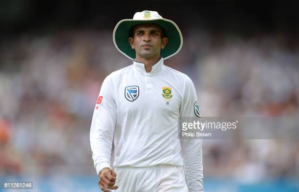Keshav Maharaj of South Africa looks on during day four of the 1st Investec Test match between England and South Africa at Lord's Cricket Ground on...