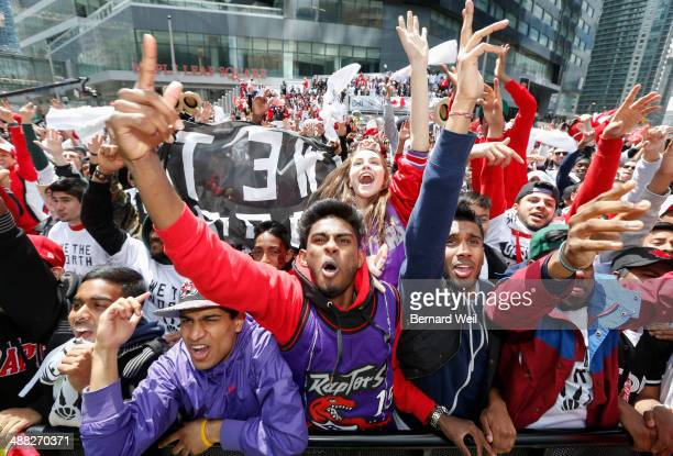 TORONTO ON MAY 4 Keshavan Thavabalasingan cheers as Raptors score early in game 7 Thousand of Toronto Raptor fans came out to Maple Leaf Square to...