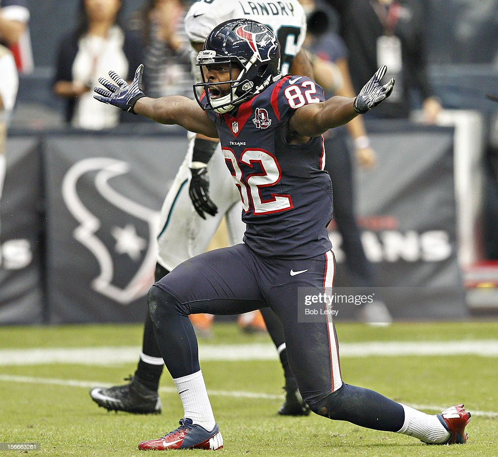 Keshawn Martin #82 of the Houston Texans motions to the official after he was interfered with on a pass route against the Jacksonville Jaguars at Reliant Stadium on November 18, 2012 in Houston, Texas. Houston wins 43-37 in overtime.