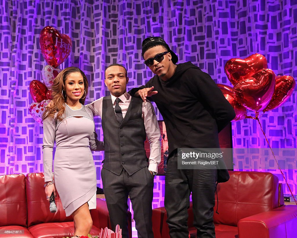 Keshia Chante, <a gi-track='captionPersonalityLinkClicked' href=/galleries/search?phrase=Bow+Wow+-+Rapper&family=editorial&specificpeople=211211 ng-click='$event.stopPropagation()'>Bow Wow</a>, and August Alsina attend 106 & Park at BET studio on February 11, 2014 in New York City.