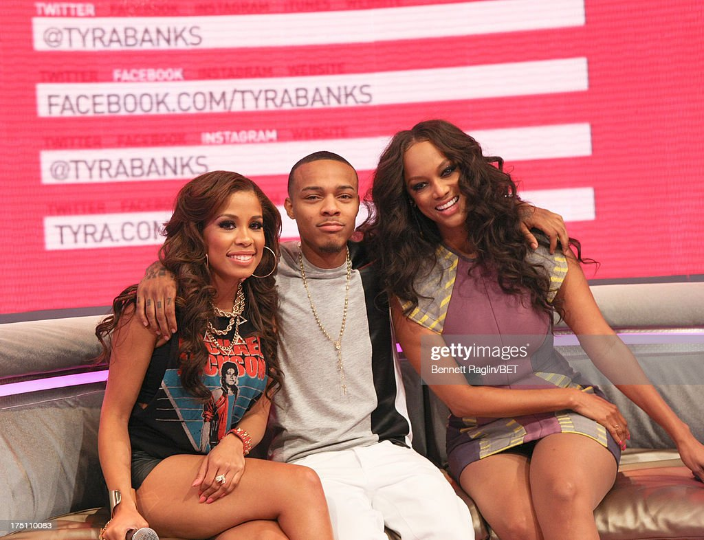 Keshia Chante, <a gi-track='captionPersonalityLinkClicked' href=/galleries/search?phrase=Bow+Wow+-+Rapper&family=editorial&specificpeople=211211 ng-click='$event.stopPropagation()'>Bow Wow</a>, and <a gi-track='captionPersonalityLinkClicked' href=/galleries/search?phrase=Tyra+Banks&family=editorial&specificpeople=202216 ng-click='$event.stopPropagation()'>Tyra Banks</a> attend BET's '106 & Park' at BET Studios on July 31, 2013 in New York City.