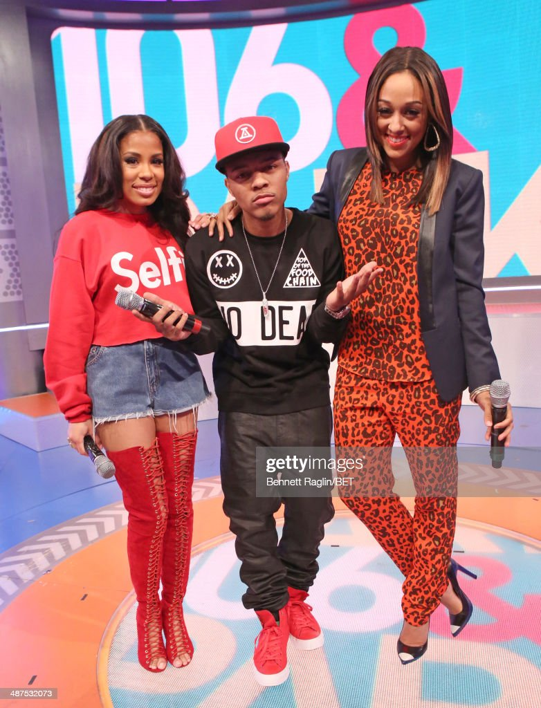 Keshia Chante, <a gi-track='captionPersonalityLinkClicked' href=/galleries/search?phrase=Bow+Wow+-+Rapper&family=editorial&specificpeople=211211 ng-click='$event.stopPropagation()'>Bow Wow</a>, <a gi-track='captionPersonalityLinkClicked' href=/galleries/search?phrase=Tia+Mowry&family=editorial&specificpeople=631098 ng-click='$event.stopPropagation()'>Tia Mowry</a> attend 106 & Park at BET studio on April 30, 2014 in New York City.