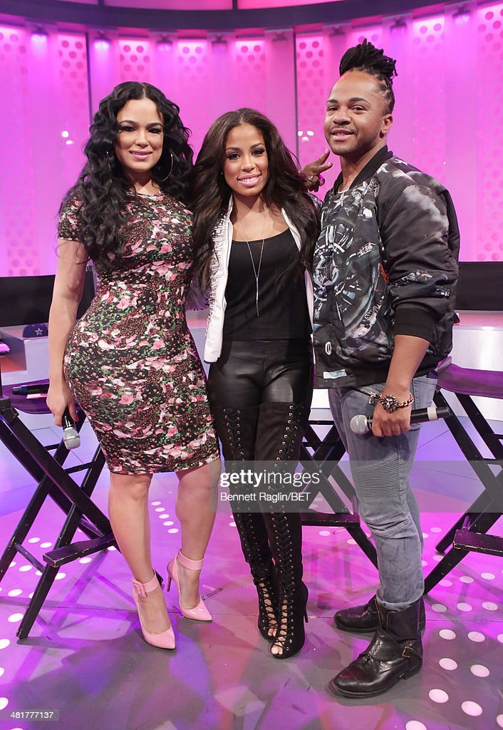 Keshia Chante, Emily B, and Q attend 106 & Park at BET studio on March 31, 2014 in New York City.