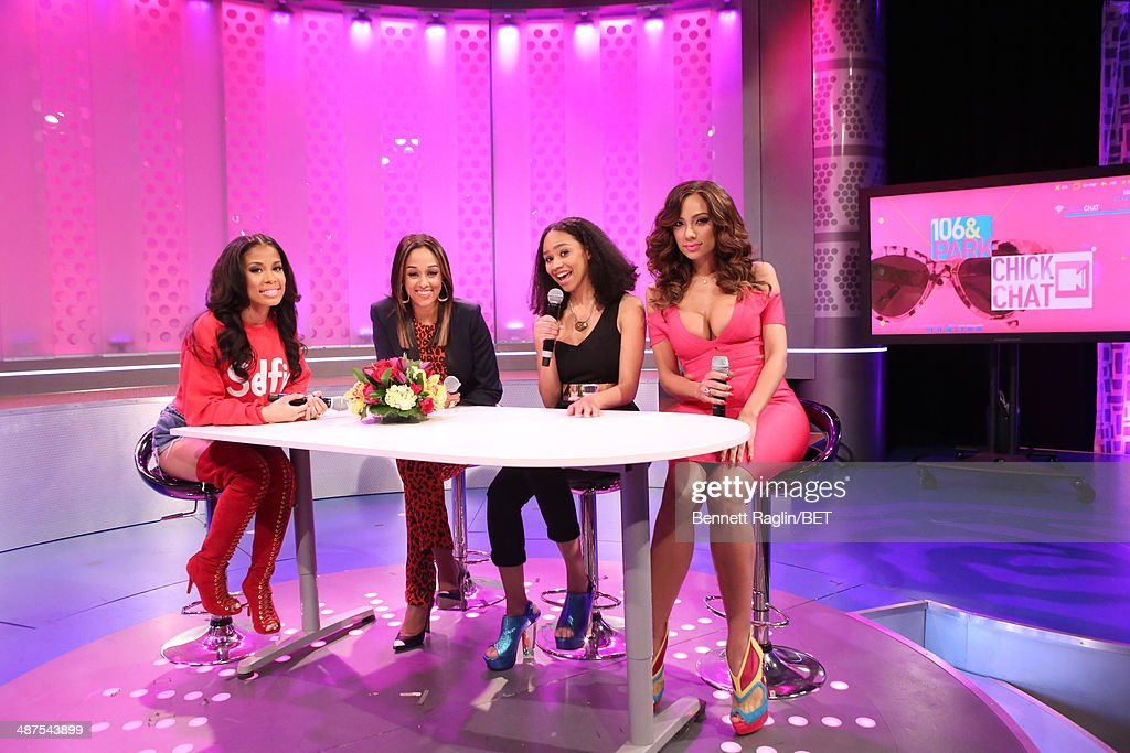 Keshia Chante, <a gi-track='captionPersonalityLinkClicked' href=/galleries/search?phrase=Tia+Mowry&family=editorial&specificpeople=631098 ng-click='$event.stopPropagation()'>Tia Mowry</a>, Tanisha Long, and <a gi-track='captionPersonalityLinkClicked' href=/galleries/search?phrase=Erica+Mena&family=editorial&specificpeople=4478023 ng-click='$event.stopPropagation()'>Erica Mena</a> attend 106 & Park at BET studio on April 30, 2014 in New York City.