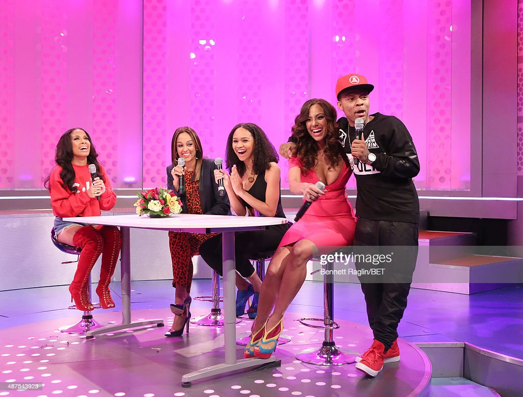 Keshia Chante, <a gi-track='captionPersonalityLinkClicked' href=/galleries/search?phrase=Tia+Mowry&family=editorial&specificpeople=631098 ng-click='$event.stopPropagation()'>Tia Mowry</a>, Tanisha Long, <a gi-track='captionPersonalityLinkClicked' href=/galleries/search?phrase=Erica+Mena&family=editorial&specificpeople=4478023 ng-click='$event.stopPropagation()'>Erica Mena</a>, and <a gi-track='captionPersonalityLinkClicked' href=/galleries/search?phrase=Bow+Wow+-+Rapper&family=editorial&specificpeople=211211 ng-click='$event.stopPropagation()'>Bow Wow</a> attend 106 & Park at BET studio on April 30, 2014 in New York City.