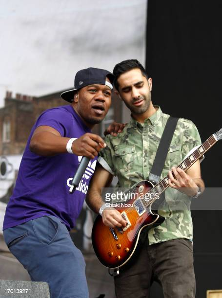 Kesi Dryden and Amir Amor and a trumpet player of Rudimental perform at Finsbury Park on June 7 2013 in London England