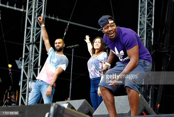 Kesi Dryden of Rudimental performs at Finsbury Park on June 7 2013 in London England