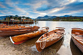Keswick launch boats on the edge of Derwent Water in the Lake District National Park. XL image size.