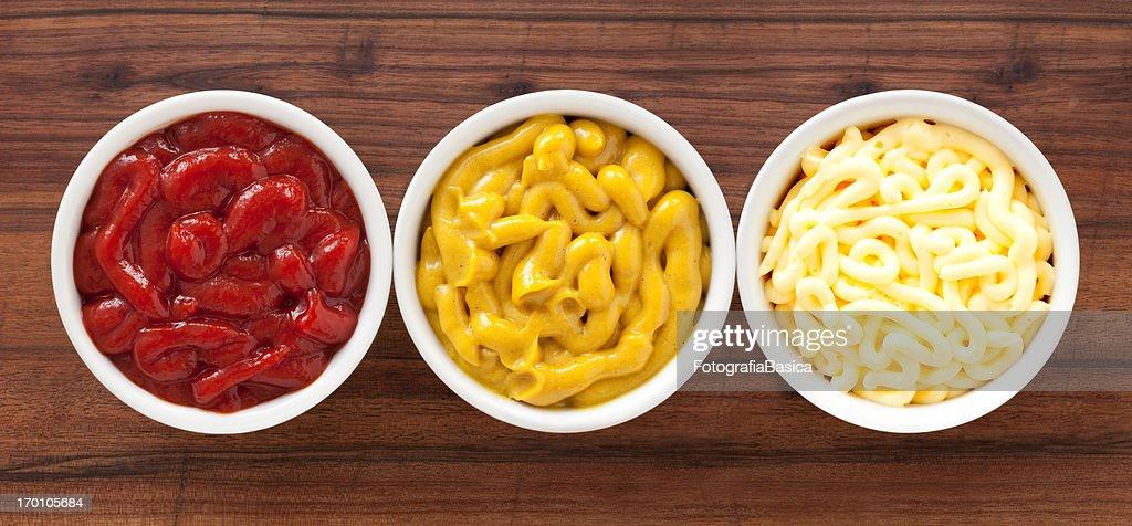 Ketchup, mustard and mayonnaise