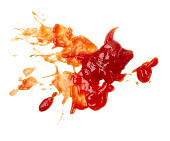 close up of  ketchup stains on white background  with clipping pathclose up of  ketchup stains on white background  with clipping path