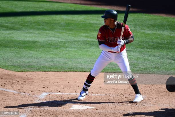 Ketel Marte of the Arizona Diamondbacks at bat against the Colorado Rockies during the spring training game at Salt River Fields at Talking Stick on...