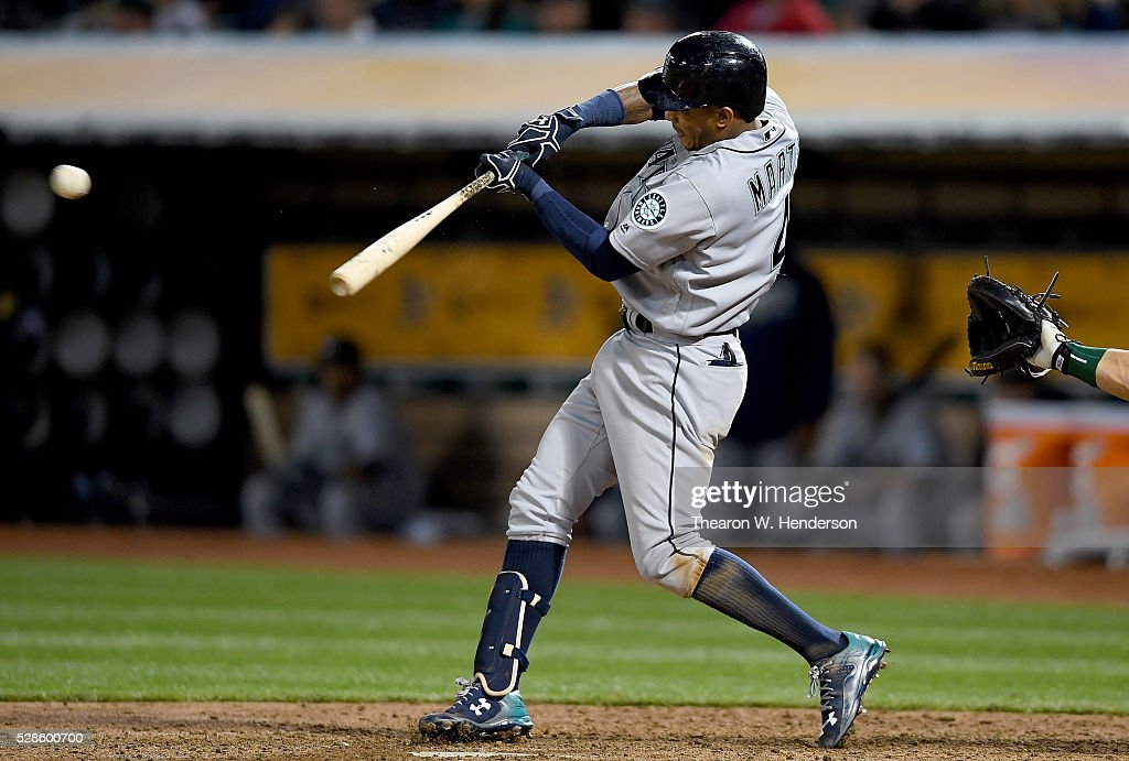 Ketel Marte #4 of the Seattle Mariners hits a single against the Oakland Athletics in the top of the seventh inning at O.co Coliseum on May 3, 2016 in Oakland, California.