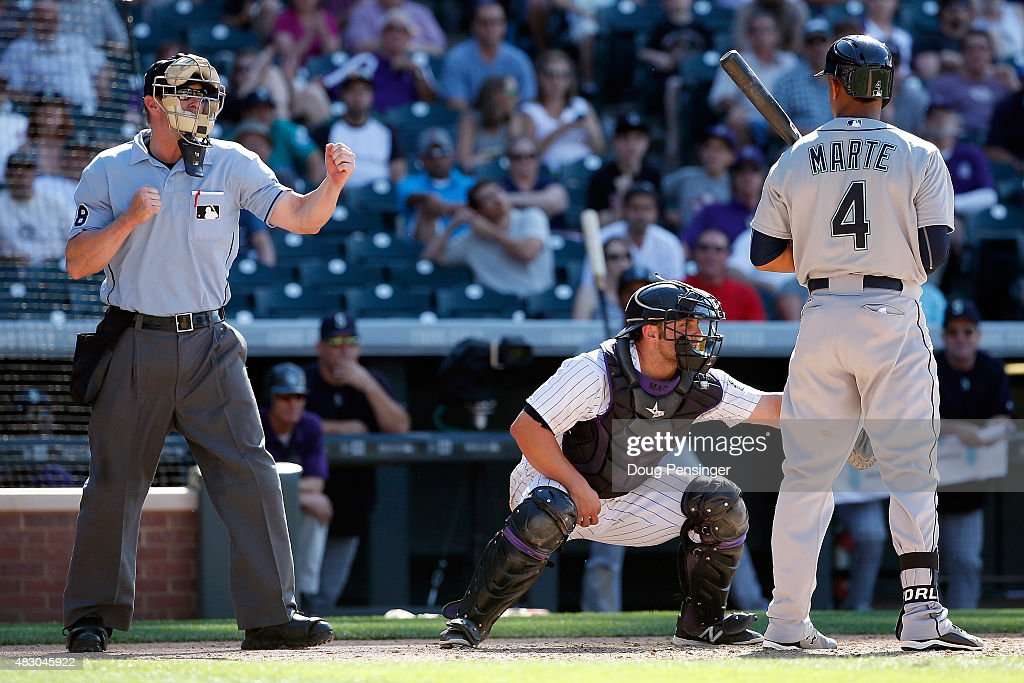 Ketel Marte of the Seattle Mariners is called out on strikes by homeplate umpire Marcus Patillo against relief pitcher Rafael Betancourt of the...