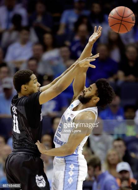Kethan Savage of the Butler Bulldogs looks to pass against Joel Berry II of the North Carolina Tar Heels in the first half during the 2017 NCAA Men's...