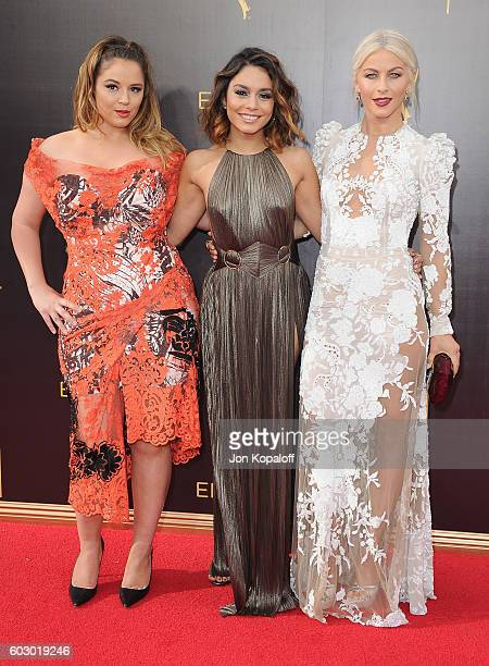 Kether Donohue Vanessa Hudgens and Julianne Hough arrive at the 2016 Creative Arts Emmy Awards at Microsoft Theater on September 11 2016 in Los...