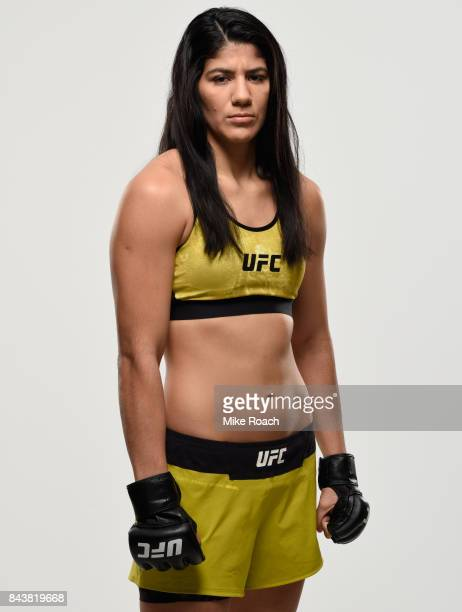 Ketlen Vieira of Brazil poses for a portrait during a UFC photo session on September 7 2017 in Edmonton Alberta Canada