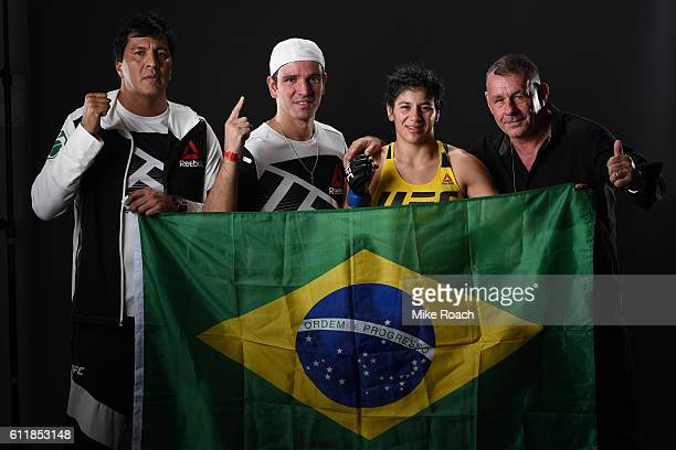 Ketlen Vieira of Brazil poses for a post fight portrait after defeating Kelly Faszholz during the UFC Fight Night event at the Moda Center on October...