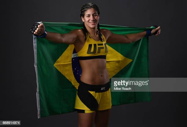 Ketlen Vieira of Brazil poses for a post fight portrait backstage during the UFC Fight Night event at Sprint Center on April 15 2017 in Kansas City...