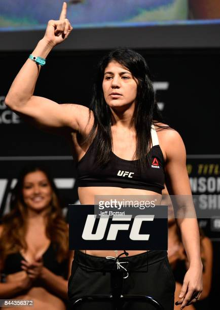 Ketlen Vieira of Brazil poses on the scale during the UFC 215 weighin inside the Rogers Place on September 8 2017 in Edmonton Alberta Canada
