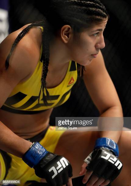 Ketlen Vieira prepares to battle Ashlee EvansSmith during thier Women's Bantamweight bout on UFC Fight Night at the Sprint Center on April 15 2017 in...