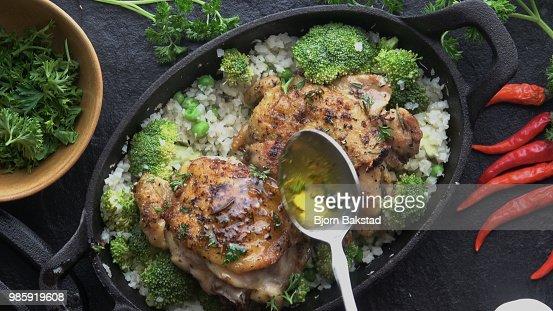 Keto Cast Iron Chicken Chicken Thighs : Stock Photo