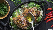 Bone-in Chicken Thighs Cooked in a Cast Iron served with Riced Cauliflower and Broccoli