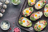 Keto diet dish: Avocado boats with ham cubes, quail eggs, cheese and cress sprouts on metal baking tray