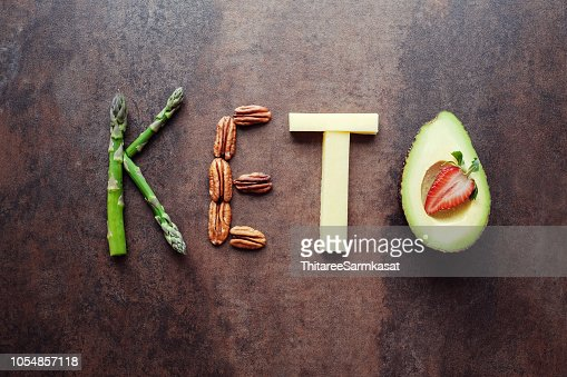 Keto word made from ketogenic food : Stock Photo