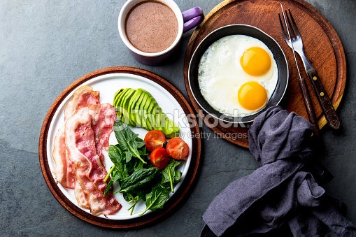 Ketogenic diet breakfast. fried egg, bacon and avocado, spinach and bulletproof coffee. Low carb high fat breakfast : Stock Photo