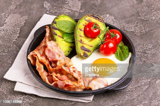Ketogenic diet. Low carb high fat breakfast. Healthy food concept : Stock Photo