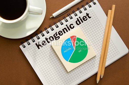 Ketogenic diet notes in the notebook in the office Desk.Concept of Ketogenic diet with chart : Stock Photo