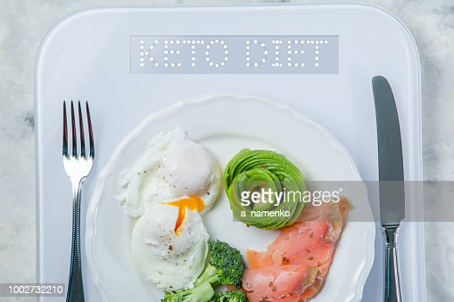 Ketogenic food concept - plate with keto food on weights : Stock Photo