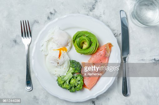 Ketogenic food concept - plate with keto food : Stock Photo