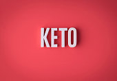 Ketogenic KETO lettering sign made with colorful background and white ceramic letters.