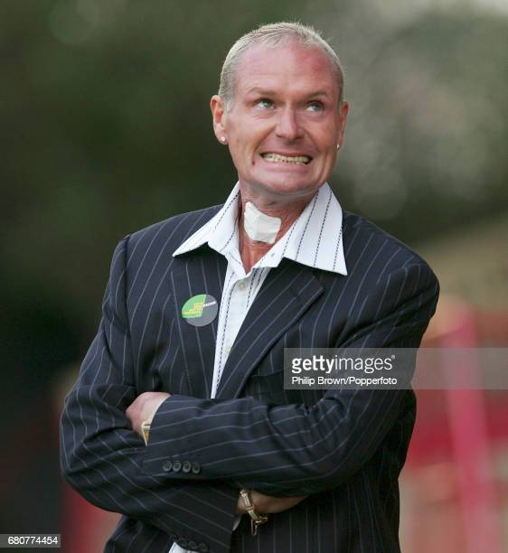 Kettering Town Manager Paul Gascoigne reacts during the Nationwide Conference North match between Kettering Town and Droylsden at Rockingham Road in...