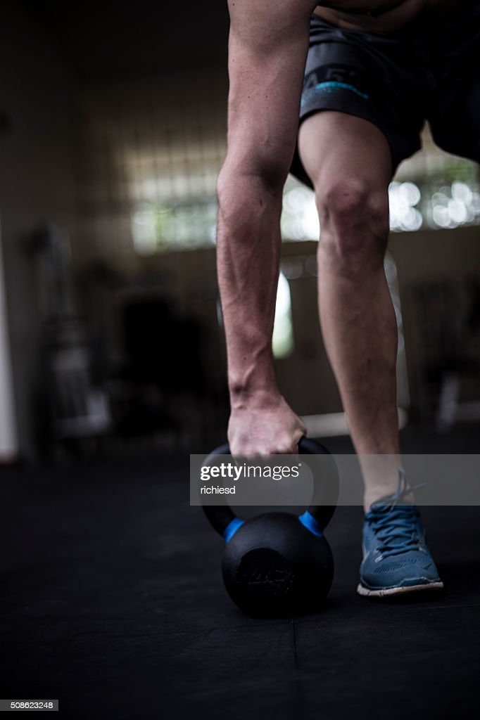 Kettle bell training : Stock Photo