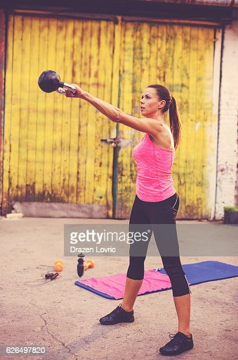 Kettle bell workout in neighborhood