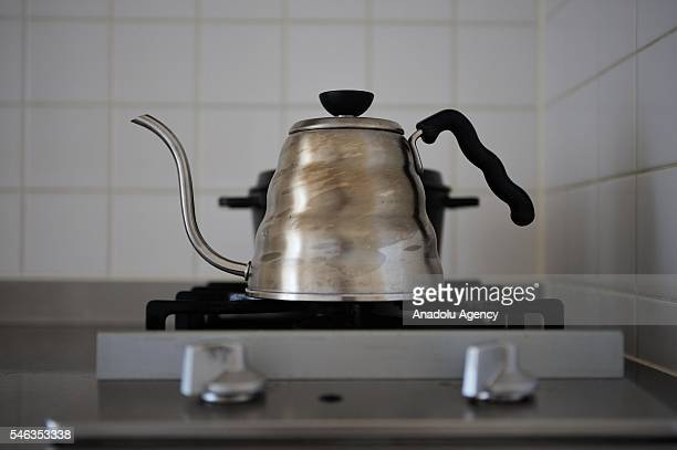 A kettle is seen on a cooker in the kitchen of minimalist Saeko Kubishiki in Fujisawa Kanagawa Prefecture in the southern of Tokyo Japan on June 29...