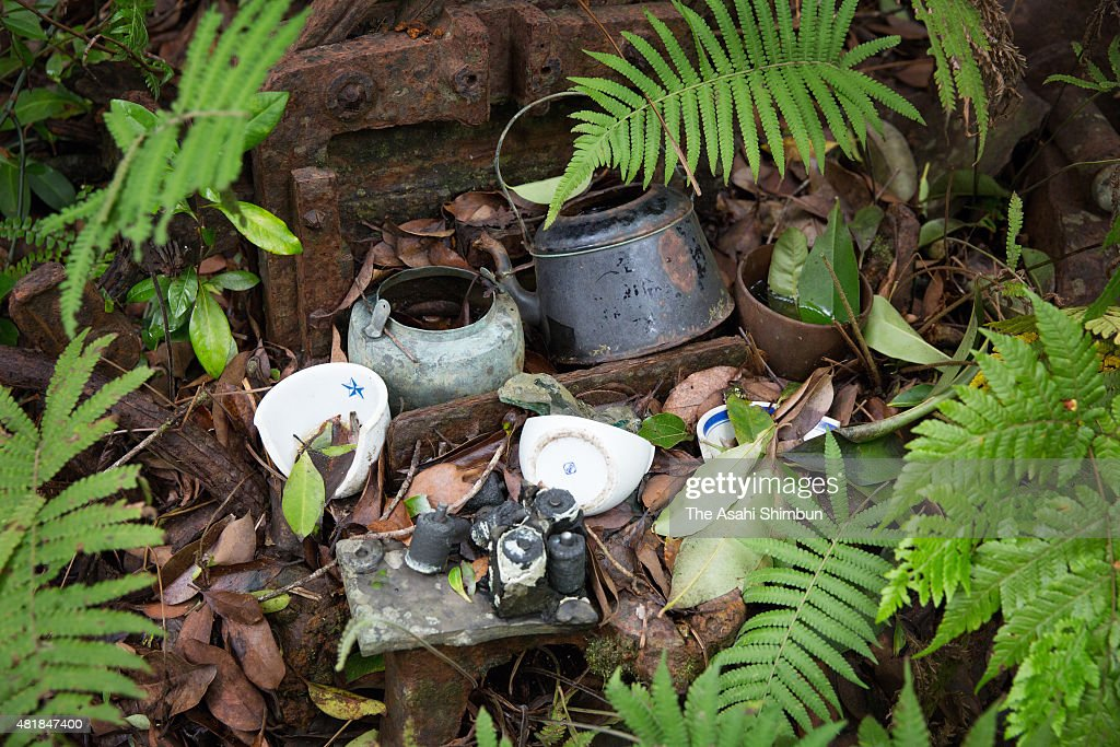 Kettles and bowls of the former Japanese Imperial Army soldiers remain on Chichijima Island on May 28 2015 in Ogasawara Tokyo Japan Along with the...