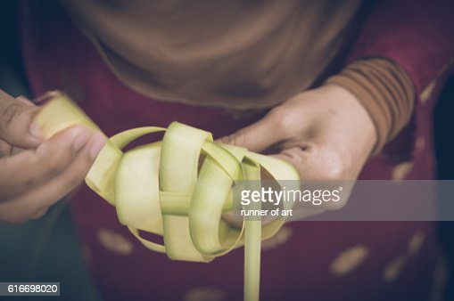 Ketupat on the way : Stock Photo