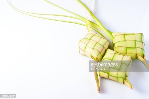 Ketupat (rice dumpling on white background)