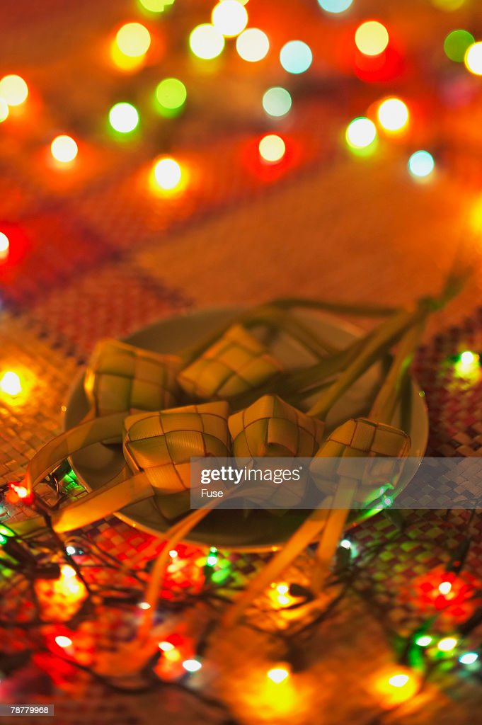 String Lights Portrait : Ketupats And String Lights Stock Photo Getty Images