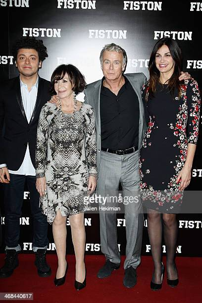 Kev Adams Daniele Evenou Franck Dubosc and Helena Noguerra attend 'Fiston' Paris Premiere at Le Grand Rex on February 10 2014 in Paris France