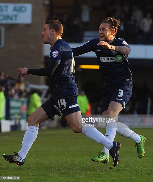 Kevan Hurst of Southend United celebrates scoring the opening goal with Ben Coker during the Sky Bet League Two match between Southend United and...
