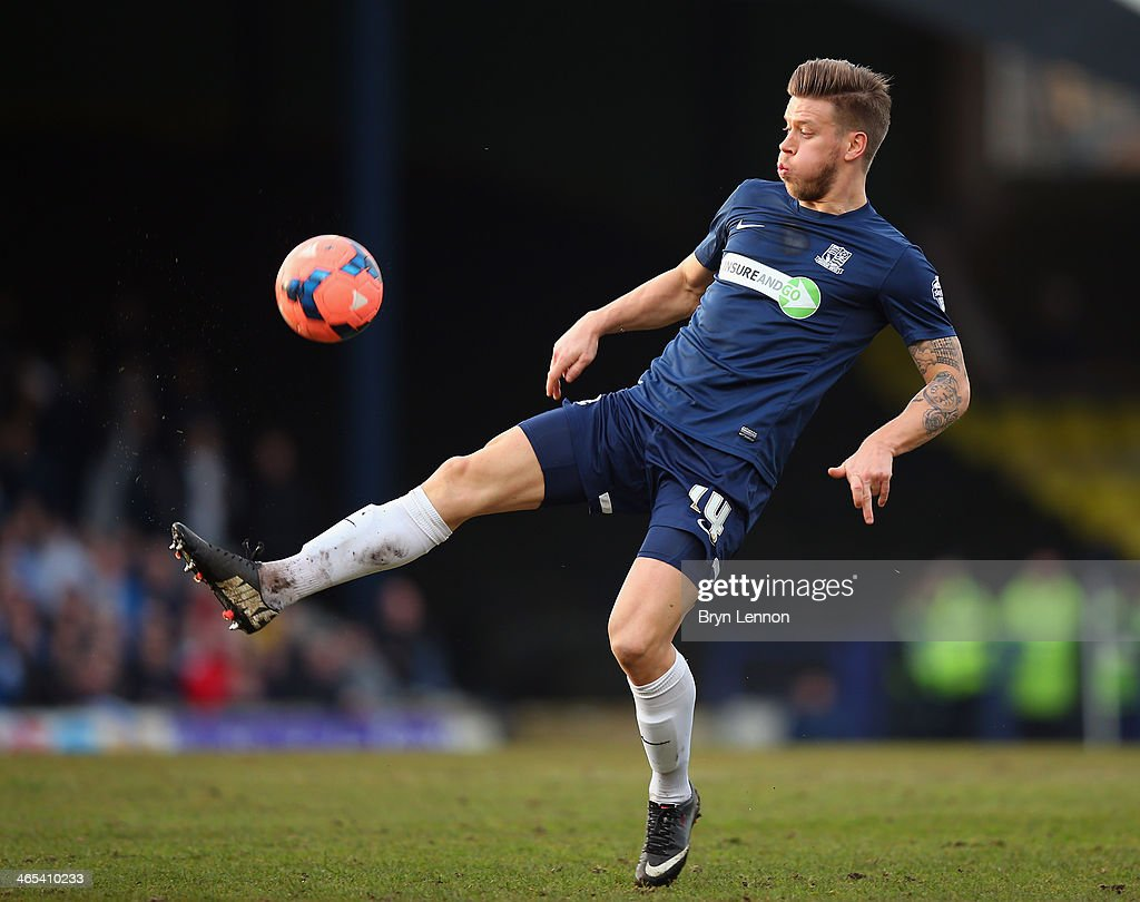 Kevan Hurst of Southend United in action during the FA Cup Fourth Round match between Southend United and Hull City at Roots Hall on January 25, 2014 in Southend, England.