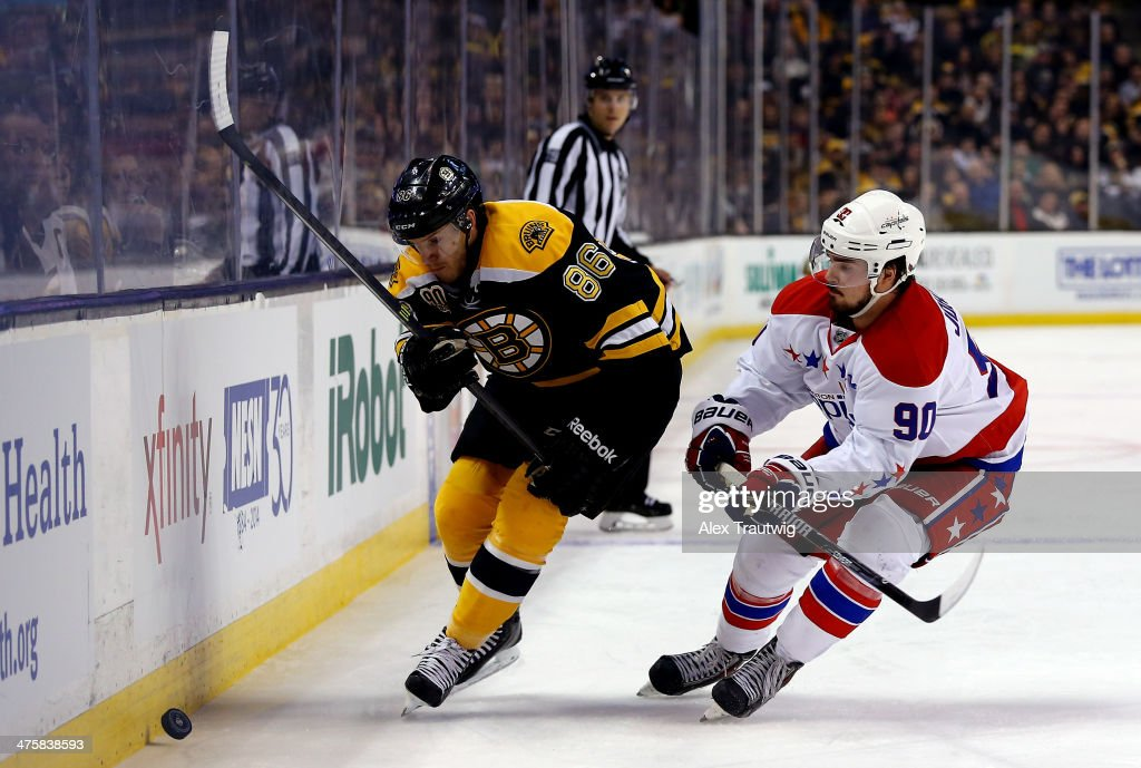 <a gi-track='captionPersonalityLinkClicked' href=/galleries/search?phrase=Kevan+Miller&family=editorial&specificpeople=8236132 ng-click='$event.stopPropagation()'>Kevan Miller</a> #86 of the Boston Bruins and <a gi-track='captionPersonalityLinkClicked' href=/galleries/search?phrase=Marcus+Johansson&family=editorial&specificpeople=4247883 ng-click='$event.stopPropagation()'>Marcus Johansson</a> #90 of the Washington Capitals go for the puck during a game at the TD Garden on March 1, 2014 in Boston, Massachusetts.
