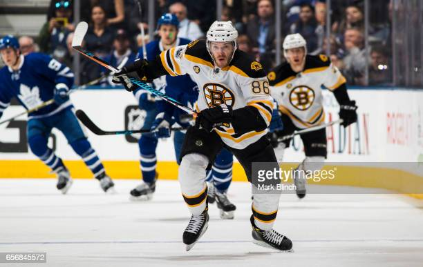 Kevan Miller of the Boston Bruins skates against the Toronto Maple Leafs during the third period at the Air Canada Centre on March 20 2017 in Toronto...