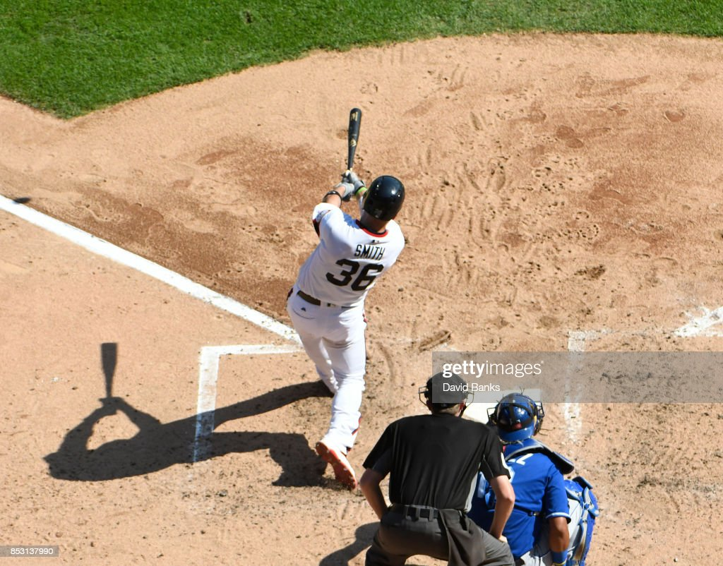 Kevan Smith #36 of the Chicago White Sox hits a home run against the Kansas City Royals during the fourth inning on September 24, 2017 at Guaranteed Rate Field in Chicago, Illinois.