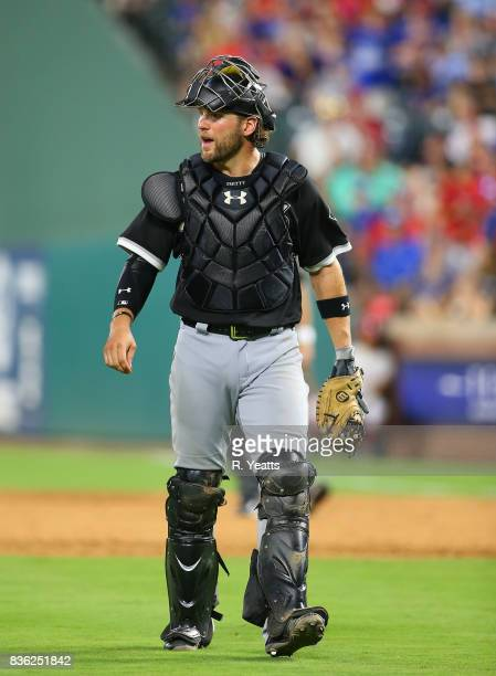 Kevan Smith of the Chicago White Sox reacts during in the sixth inning against the Chicago White Sox at Globe Life Park in Arlington on August 19...